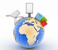 Carrinho de compras, sacos de compras e quadro de avisos em um globo Conceito do comércio mundial ilustração do vetor