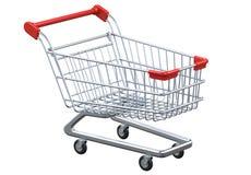 Carrinho de compras vazio da opinião de perspectiva no fundo branco Fotografia de Stock Royalty Free