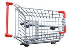 Carrinho de compras vazio da vista superior isolado no fundo branco Imagem de Stock Royalty Free