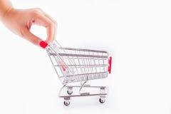 Carrinho de compras vazio do punho da mão Foto de Stock