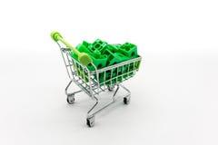 Carrinho de compras verde com enigma 3d verde para dentro Fotografia de Stock Royalty Free