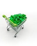 Carrinho de compras verde com enigma 3d verde para dentro Foto de Stock Royalty Free