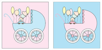 Carrinho de criança dois ajustado com um bebê e os balões ilustração do vetor
