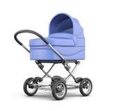 Carrinho de criança de bebê azul no fundo branco rendição 3d Foto de Stock Royalty Free