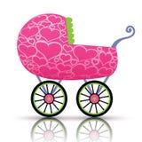 Carrinho de criança dos corações para o bebê Fotografia de Stock