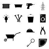 Carrinho de mão ajustado ícones do ícone do vetor do instrumento do vetor, Foto de Stock