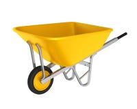 Carrinho de mão amarelo isolado Fotos de Stock Royalty Free