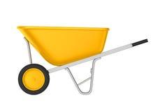 Carrinho de mão amarelo isolado Imagens de Stock