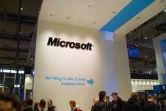 Carrinho de Microsoft na expo do computador de CEBIT Fotografia de Stock