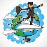 Carrinho do homem de negócios no papel ilustração royalty free