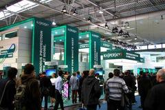 Carrinho do laboratório de Kaspersky na expo do computador de CEBIT Imagens de Stock