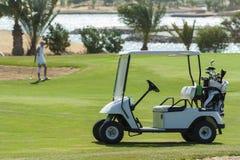 Carrinho elétrico do golfe em um fairway fotografia de stock royalty free