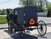 Carrinho puxado a cavalo de Amish estacionado em uma loja fotografia de stock