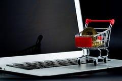 Carrinhos de compras com bitcoin do ouro no laptop isolado sobre Imagem de Stock