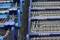 Carrinhos de compras de Tesco Fotografia de Stock Royalty Free
