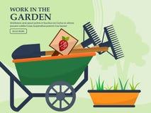 Carriola con gli strumenti di giardino e piante da vaso lunghe su un fondo leggero con un posto per la vostra pubblicità Vettore royalty illustrazione gratis