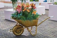 Carriola dell'oro con i fiori immagine stock libera da diritti