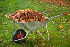 Carriola con le foglie fotografia stock