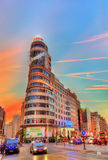 Carrion building on Gran Via street in Madrid, Spain Royalty Free Stock Photo