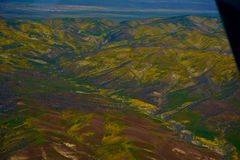 Carrizo Plains National Monument Superbloom aerial Stock Photography