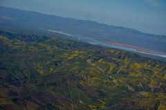 Carrizo Plains National Monument Superbloom aerial Stock Image