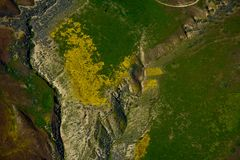 Carrizo Plains National Monument Superbloom aerial Royalty Free Stock Image
