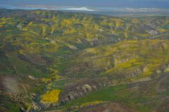 Carrizo Plains National Monument Superbloom aerial Royalty Free Stock Photography