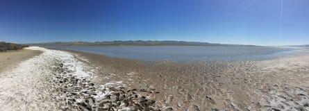 Carrizo raffine le monument national panoramique, la Californie - lac soda avec l'eau, la boue et le sel photo stock