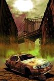 Carro abandonado em Manhattan ilustração royalty free