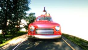 Carro abstrato dos desenhos animados que viaja com uma grade de tejadilho em uma estrada da montanha ilustração 3D Imagens de Stock