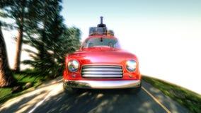 Carro abstrato dos desenhos animados que viaja com uma grade de tejadilho em uma estrada da montanha ilustração 3D Imagem de Stock