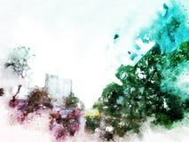 Carro abstrato na rua no fundo de pintura da aquarela fotos de stock