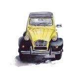 Carro amarelo do vintage Fotos de Stock Royalty Free