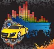Carro amarelo e bandeira azul Imagens de Stock Royalty Free