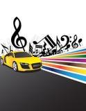 Carro amarelo e música Imagens de Stock Royalty Free