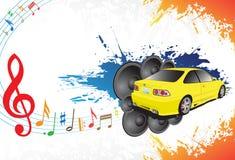 Carro amarelo e música ilustração do vetor