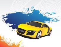 Carro amarelo e respingo azul Fotos de Stock