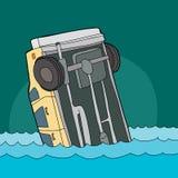 Carro amarelo que afunda-se na água Foto de Stock