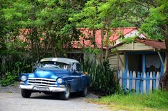 Carro americano em Puerto Esperanza, Cuba imagem de stock