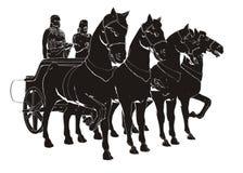 Carro antiguo con la pintura de cuatro caballos Fotografía de archivo libre de regalías