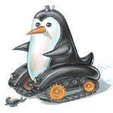 Carro armato del pinguino con il leone marino spaventato Fotografia Stock