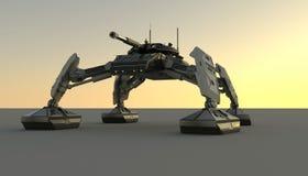 Carro armato di camminata futuristico di fantasia Idea originale e modellare autentiche royalty illustrazione gratis