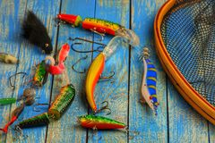 Carro armato di pesce, dei Wobblers e l'altra attrezzatura di pesca Immagine Stock Libera da Diritti