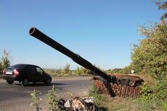 Carro armato distrutto Fotografia Stock