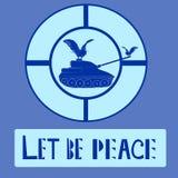Carro armato e colomba di pace Logo Vector Illustration Piccioni e siluetta militare del carro armato isolati sul fondo del blu d Fotografia Stock Libera da Diritti