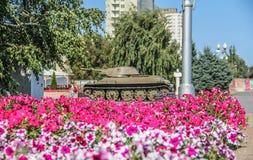 Carro armato e fiori immagini stock