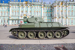 Carro armato medio sovietico T-34 sull'azione militare-patriottica, St Petersburg Fotografie Stock Libere da Diritti