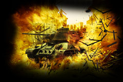 Carro armato nella città bruciante illustrazione vettoriale