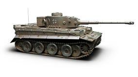 Carro armato pesante corazzato di combattimento di Panzer di guerra mondiale 2 tedeschi d'annata su un fondo bianco Wwii royalty illustrazione gratis