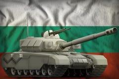 Carro armato pesante sui precedenti della bandiera nazionale della Bulgaria illustrazione 3D illustrazione di stock